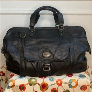 Fossil Black Leather Doctors Large Luggage Bag